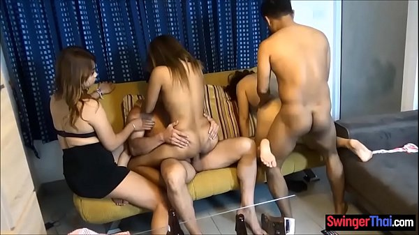Group sex with drunk Thai girls who are also swingers